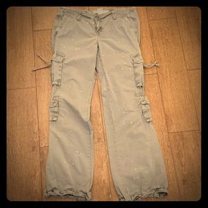 Gap low rise distressed cargo pants